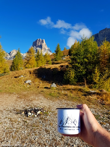 mountains, dolomites, sunrise, cup, coffee, alps, italy, 2018, photo