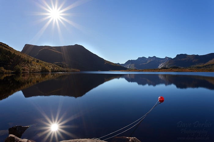 lake, reflection, sunstar, lofoten, norway, photo