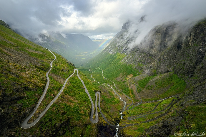 trollstigen, romsdal, rainbow, mountains, valley, canyon, norway, 2020, photo