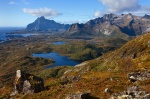 mountain, lakes, rugged, range, lofoten, norway, photo