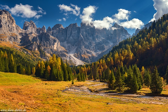 mountains, dolomites, autumn, fall, river, valley, rugged, alps, italy, 2018, photo