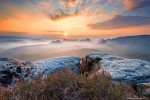 sunrise, mountains, valley, forest, saxon switzerland, sun, sunstar, fog, golden, germany, 2017, Germany, photo