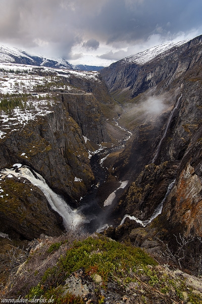 sunset, waterfall, stream, mountain, snow, norway, 2015, latest, photo