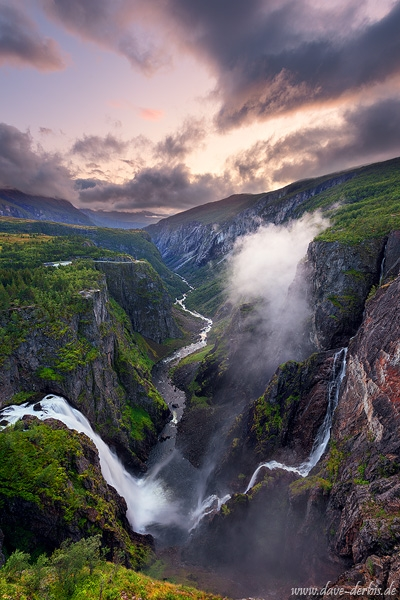 sunset, waterfall, stream, mountain, valley, canyon, norway, 2019, photo
