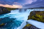 sunset, waterfall, falls, cliff, long exposure, iceland, 2016, photo