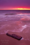 sunset, beach, baltic sea, weststrand, wood, waves, twilight, photo