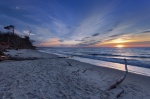 beach, sunset, baltic sea, forest, nationalpark, sunstar, germany, photo