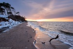 beach, winter, snow, sunset, coast, baltic sea, germany, photo