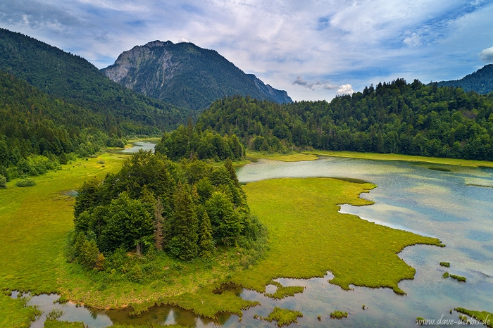 mountains, alps, lake, stream, river, island, drone, aerial, germany, 2018, photo