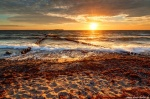 beach, coast, sunset, golden hour, sun, germany, 2020, photo