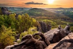 saxon switzerland, sunset, mountains, forest, golden hour, germany, photo