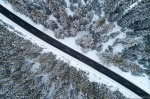harz, winter, snow, roadshot, forest, drone, aerial, from above, topdown, germany, 2021, photo