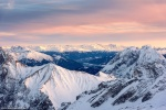 sunset, golden hour, mountains, view, snow, winter, zugspitze, germany, 2017, photo